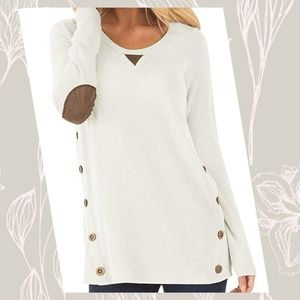 Loose Tunic with Buttons and Suede Elbow Patche